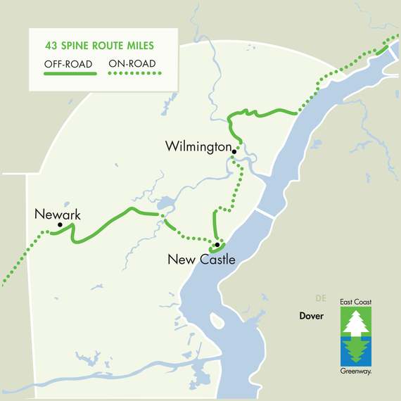 East Coast Greenway - Road map of delaware