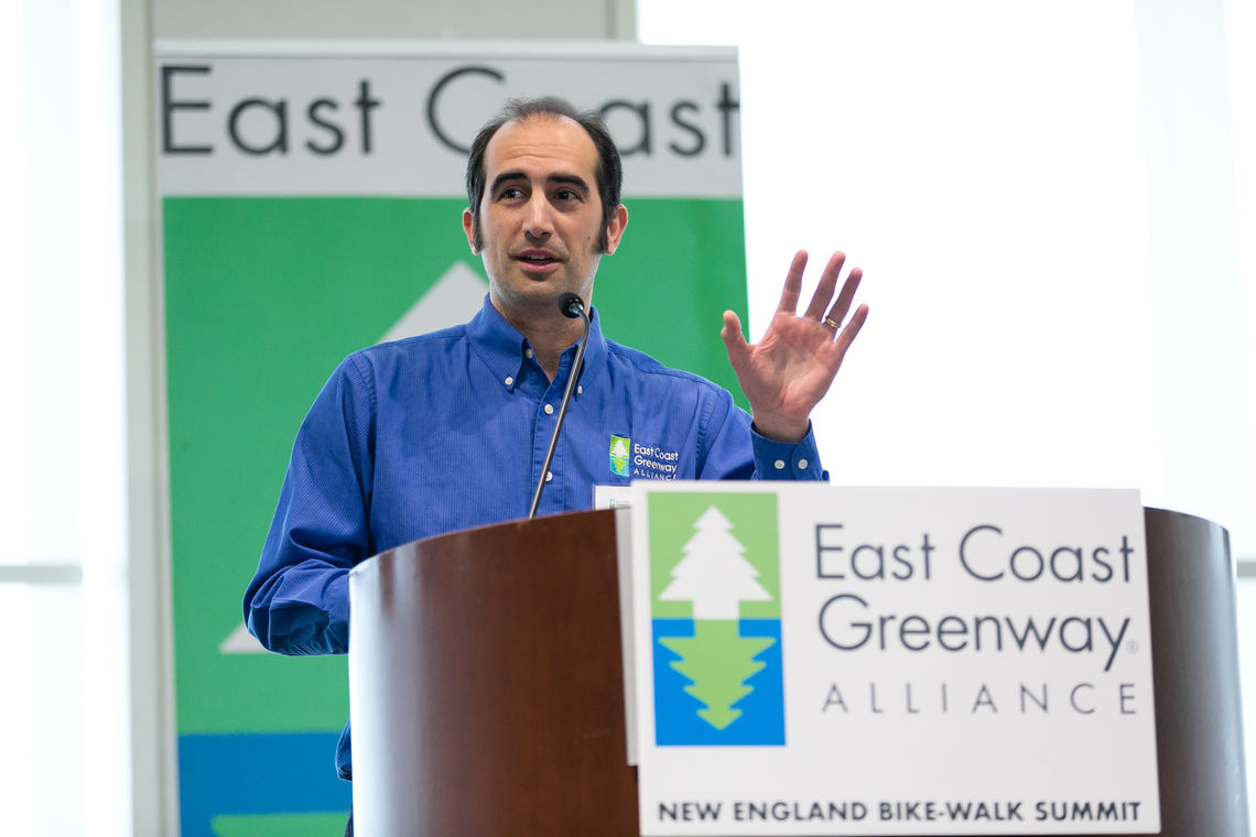 Dennis Markatos-Soriano, executive director of East Coast Greenway Alliance, gives the keynote welcome.
