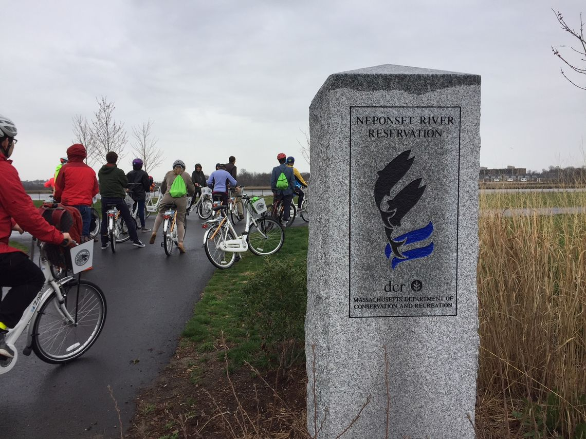 Bike tour of Neponset River Greenway led by Jessica Mink, Vivian Ortiz, and Lee Toma, Neponset River Greenway Council members.