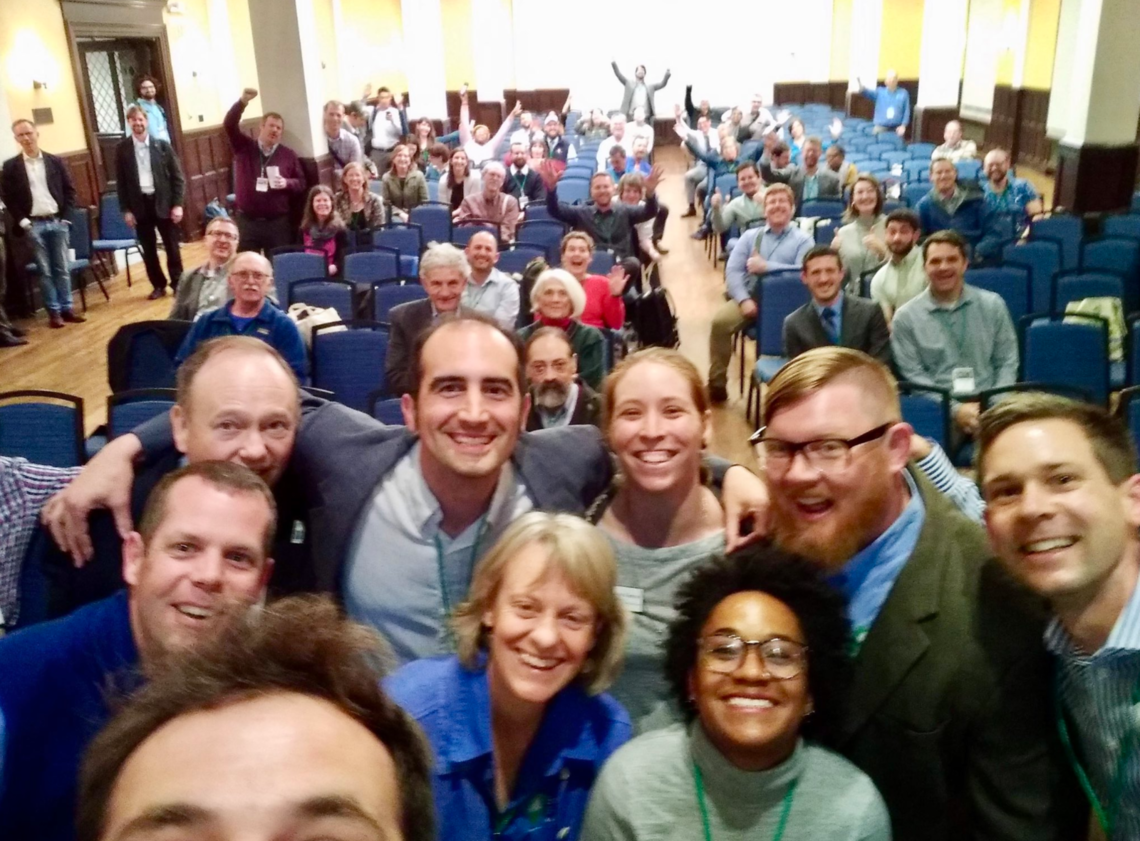 We are family: East Coast Greenway staff and remaining Summit attendees wrap up the first Mid-Atlantic Greenways & Trails Summit with a group selfie. Too bad we didn't give Daniel a selfie stick.