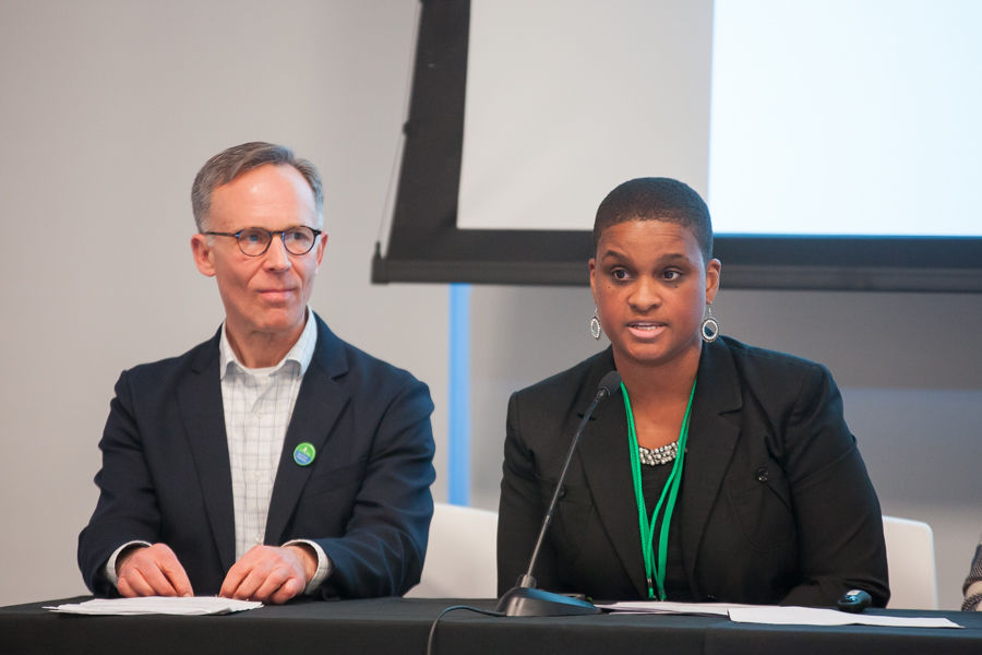 "Andy Johnson, watershed protection director at William Penn Foundation, moderator of the Thursday evening panel, ""Leading with Trails and Greenways,"" and panelist Olivia Glenn, forestry and parks director for the New Jersey Department of Environmental Protection."