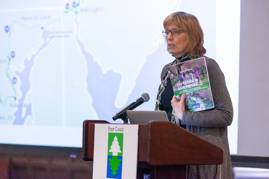 Cindy Dunn, secretary of Pennsylvania's Department of Conservation and Natural Resources, addresses attendees at lunch and the unveiling of our Delaware River Watershed impact report.