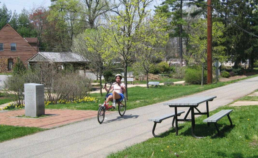 Maryland: B&A Trail, Annapolis to Baltimore, 12 miles. A well-loved and wellused paved trail following a former rail line through communities, parks, and wooded areas. Amenities such as restaurants and bike shops are convenient to the trail in a number of spots.