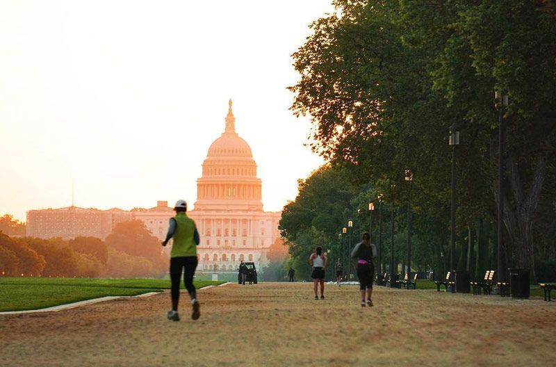 The Greenway runs through the National Mall in Washington, D.C., on a natural surface.