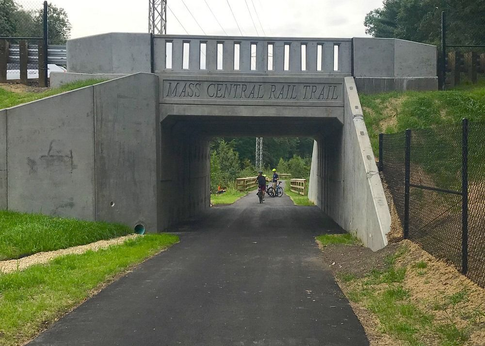 MA: New bike-ped tunnel, part of 0.3 mile designation of Mass Central Rail Trail in Weston.