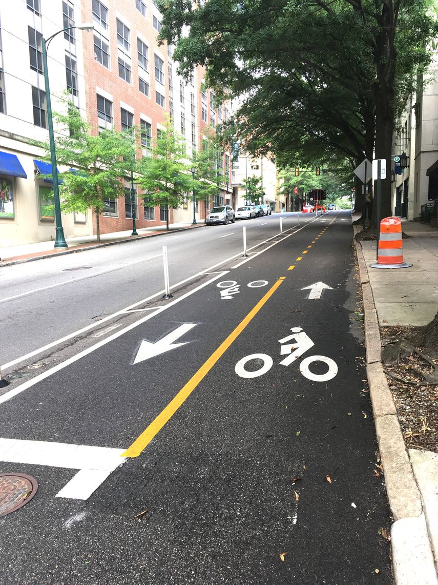 VA: This half-mile cycle track was designated in downtown Richmond.
