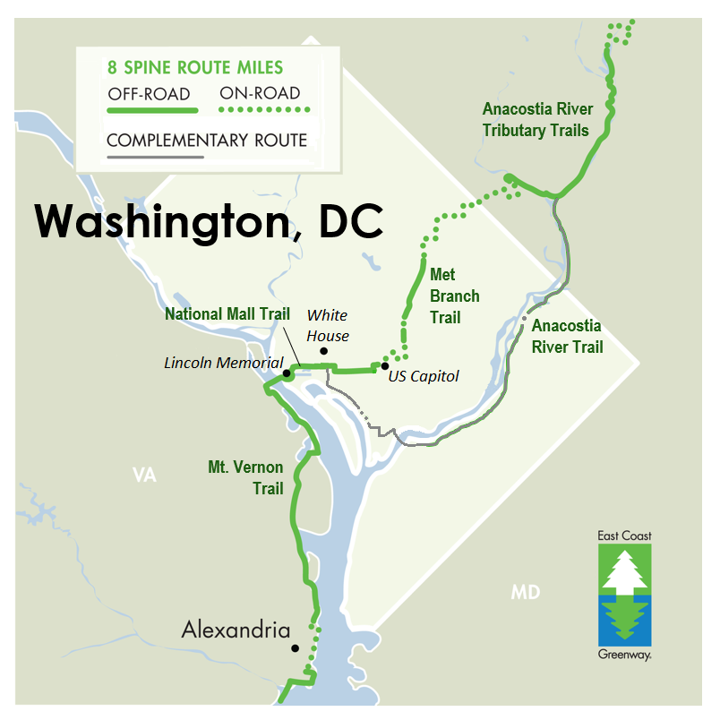 Current and planned trails in Washington, DC; the Prince George's County Connector Trail will connect DC's Met Branch Trail and Maryland's NW Branch of the Anacostia Tributary Trail System